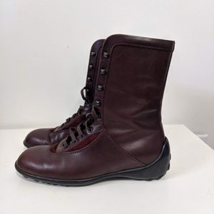 Tod's burgundy lace up rain boots